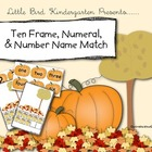 Fall Ten Frame, Numeral, & Number Name Match Center