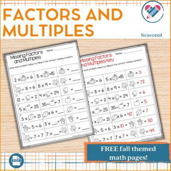 Fall Themed Missing Factors and Multiples Page FREE!!