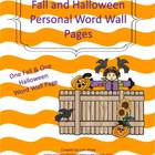 Fall and Halloween Personal Word Wall Pages