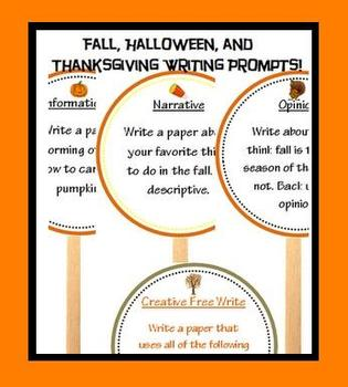 Fall writing prompts, Halloween Writing Prompts, and Thank
