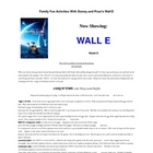 Family Fun Activities With Pixar's Wall E
