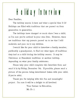 Family Holiday Interview Form for Elementary Students