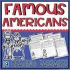Famous American Reading Passages {17 Famous Americans Covered!)