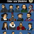 Famous Explorers Clip Art Collection! Blackline and Color