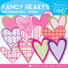 Fancy Heart Line Art Set - FREE Graphics From the Pond