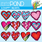 Scrappy Valentine's Day Hearts - Clipart Graphics for Teac