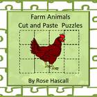 Farm Animal Cut and Paste Puzzles, P-K,K,Special Education