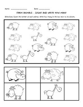Farm Animals - Count and Write How Many
