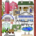 Farm Animals, Produce, and Community Clip Art