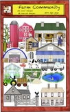 Farm Animals Clip Art with Produce and Buildings from Char