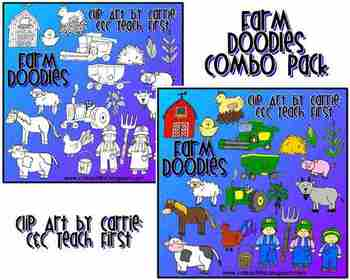 Farm Doodles clip art Combo Pack (BW and color PNG files)