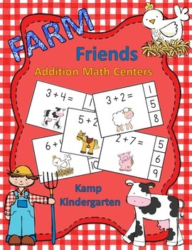 Farm Friends Addition Math Centers (Sums of 0-10)