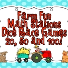 Farm Fun Math Station Dice Race Games (20, 50 and 100)