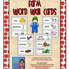 Farm Word Wall Pocket Chart Cards