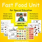 Fast Food Vocab unit (special education, multi-needs, autism)