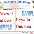 Father's Day Awesome Dad Award PreK, K, 1st