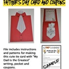 Father&#039;s Day Tie Card with Coupons and Writing Activity