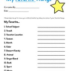 Favorite Things - First Week Activity