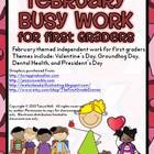 February Busy Work Pack for First Graders