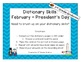February Dictionary Skills - President's Day