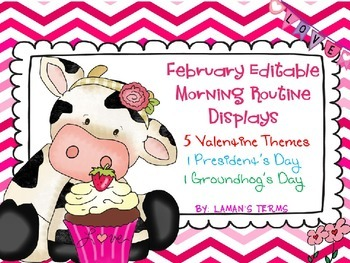 February Editable Morning Routine Displays Valentine's Pre