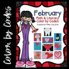 February Math &amp; Literacy Color by Codes