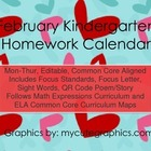February Mon.-Thur. Common Core Kindergarten 4 Week Homewo