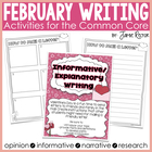 February Writing Activities Aligned to Common Core Standards