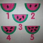 Felt Watermelon Seed Counting Game 1 through 5 Play Set Fl