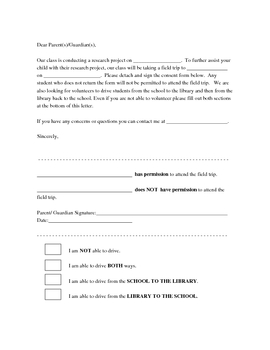 Field Trip Permission Form A