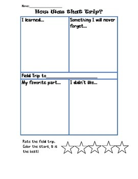 Field Trip Reflection Organizer