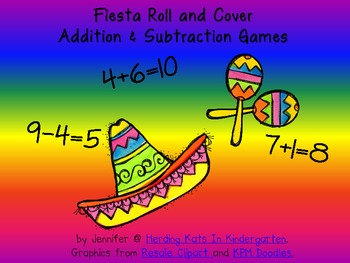 Fiesta Cinco de Mayo Roll & Cover Addition & Subtraction Games!