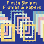 Fiesta Stripes Frames & Papers {Clip art}