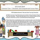 Fifth Grade Common Core Drop Down Lesson Plans and Checkli