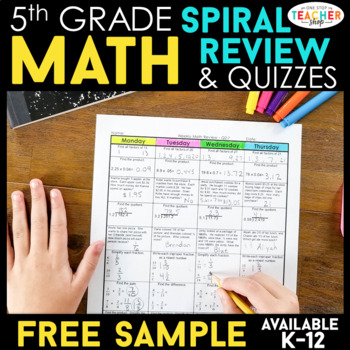 Spiral Math Homework for 5th Grade {Common Core} - 4 Weeks FREE