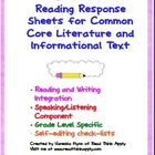 Fifth Grade Common Core Reading Response Sheets