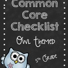Fifth Grade Common Core Standards Checklist-OWLS!