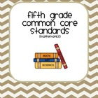 Fifth Grade Common Core User friendly