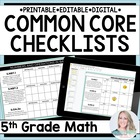 Fifth Grade Math Common Core Standards Checklists