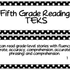 Fifth Grade Reading TEKS~ Black and White Polka Dot
