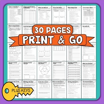 Figurative Language: 30 Worksheets with Answer Keys