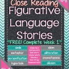Figurative Language Stories for Close Reading ~ FREE Compl