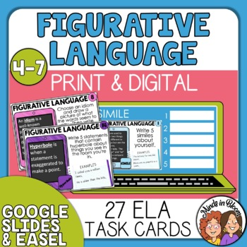 Figurative Language Task Cards: 24 Cards for Similes, Idioms and More!
