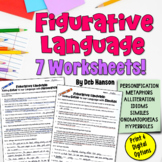 Figurative Language Worksheet Packet (7 Types)