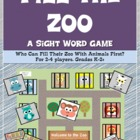 Fill the Zoo- A Sight Word Game