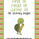 Find It Read It Write It Activity Pages