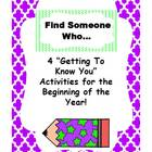 """Find Someone Who..."" Getting To Know You Activity"