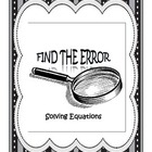 Find the Error - Solving Equations