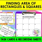 Finding Area of Rectangles and Squares Task Cards and Reco