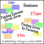 Finding Cubic &amp; Quadratic Equations given ZEROS Dominoes/Sort